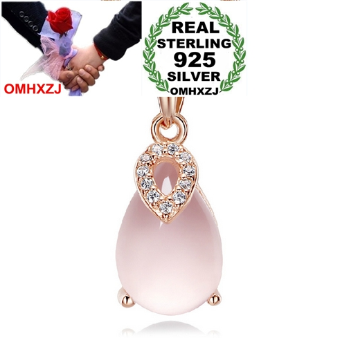OMHXZJ Wholesale 3.8 carat natural Rose Quartz woman fashion kpop 925 sterling silver pendant Charms PE78  ( NO Chain Necklace )