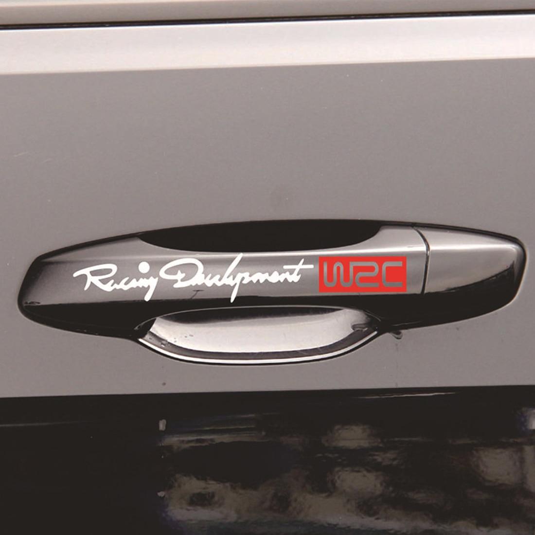 Dewtreetali 4Pcs Fashion Creative Auto Decorative Decals World Racing Development WRC Car Door Handle Vinyl Car Body Decals