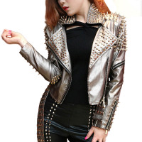 New Lady Leather Jacket Spikes Stars Slim Bi metal Silver Rivet metallic jacket Pu Leather Coats Women Short Motorcycle Jackets