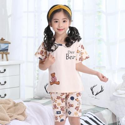 Summer Children's Pajamas Girls Short-sleeved Cotton Models Home Service Suit Big Girl Cute Princess Sleep Home Nightwear