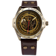 SHENHUA 9581 Men's Retro Bronze Case Brown Leather Band Automatic Skeleton Watch