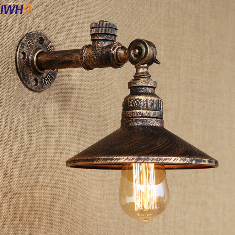 Loft Vintage Industrial Wall Lamp Iron Water Pipe Retro Wall Light Touch Switch Creative E27 Edison Bulb Lamps Home Lighting edison loft style vintage light industrial retro pendant lamp light e27 iron restaurant bar counter hanging chandeliers lamp