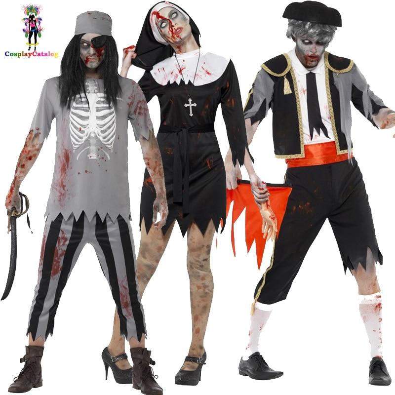 Halloween Mens Zombie Bloody Matador Halloween Costume,zombie pirate costume for adult Man,Woman Vampire Nun Fancy Dresses