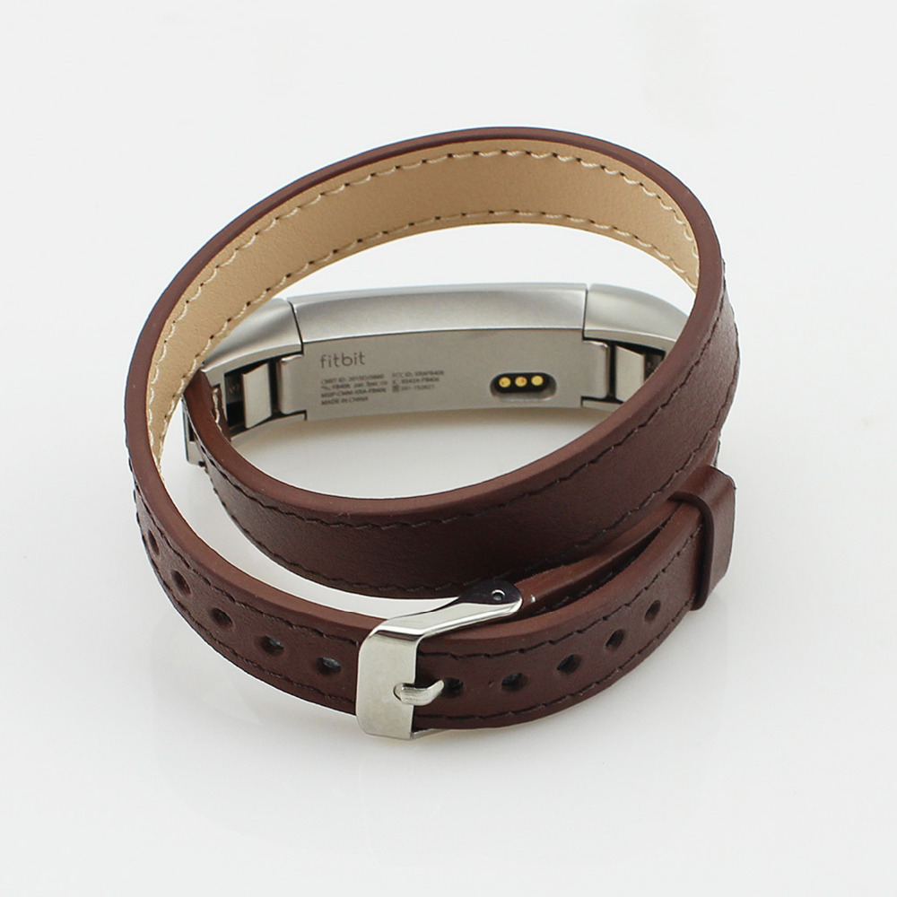 CRESTED Double Tour Genuine Leather strap for fitbit altaalta hr Bracelet belt watch band replacement Wrist belt