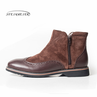 Men winter Boots Genuine leather chelsea boots brogue short ankle boots Comfortable quality handmade black mens boots