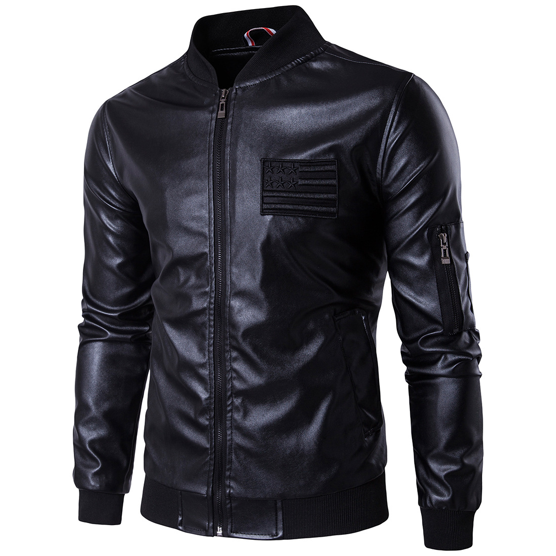 MarKyi 2017 brand new embroidery men 39 s winter leather jacket good quality long sleeve zipper mens motorcycle jacket eu size 5xl in Faux Leather Coats from Men 39 s Clothing