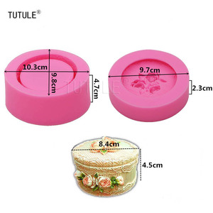 Image 2 - Moule de stockage de fleurs en Silicone, forme ronde, pour bricolage, moule Fondant en céramique, en résine, en argile, moule pour boîte à bijoux de style Pastoral, Gadgets