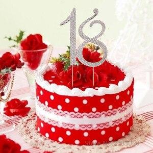 Image 2 - Diamante Strass No. 15/16/18/21 Cake Topper per La 15th 16th 18th 21th Compleanno Anniversario di Matrimonio decorazione Della Torta Del Partito