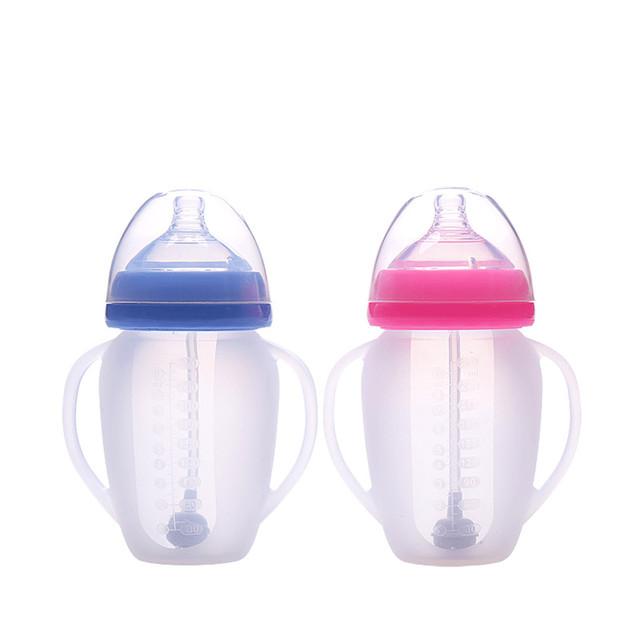 Silicone grande calibre mamadeira de Leite do bebê 270 ML Anti-flatulência quebrado e estanques grande garrafa com palha 6 pc/lote 8062
