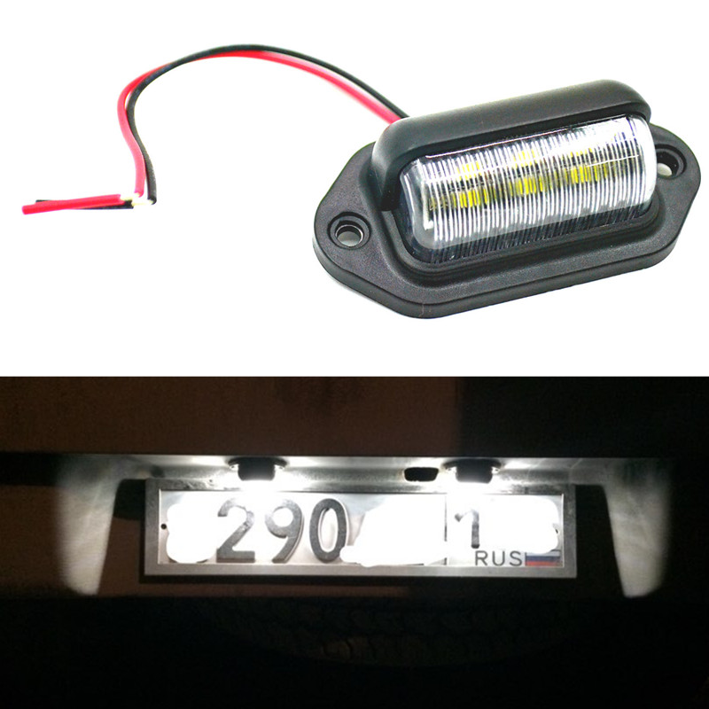 12V/24V 6LEDs Number Plate License Light Plate Light Lamp Bulbs For Truck Lorry Trailer Boats Motorcycle Automotive Aircraft RV
