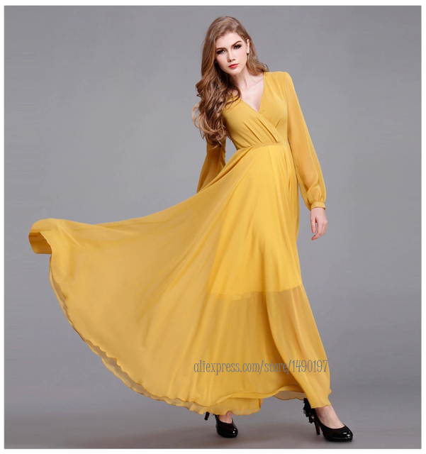 Yellow plus size evening maxi dresses