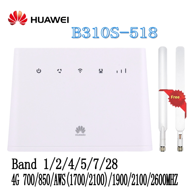 FREE SHIPPING NEW Original Unlock Huawei B310S-518 150Mbps 4G LTE Most Secure Wireless Router Support Used globall +2pcs antenna 2pcs ta3020 dip48 dip new and original free shipping