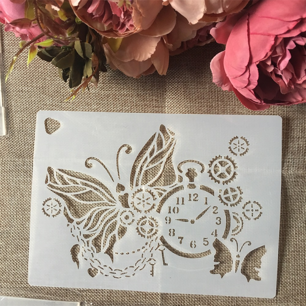 1Pcs 220*160mm Gear Clock Butterfly DIY Layering Stencils Wall Painting Scrapbook Coloring Embossing Album Decorative Template