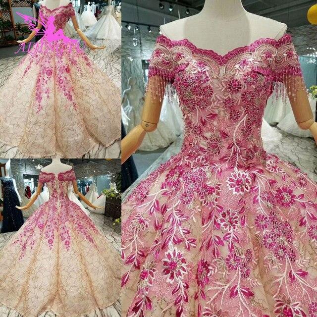 AIJINGYU 비공식 신부 가운 예쁜 소매 Couture 2021 2020 공 유행 Gowning 가운 레이스 웨딩 드레스