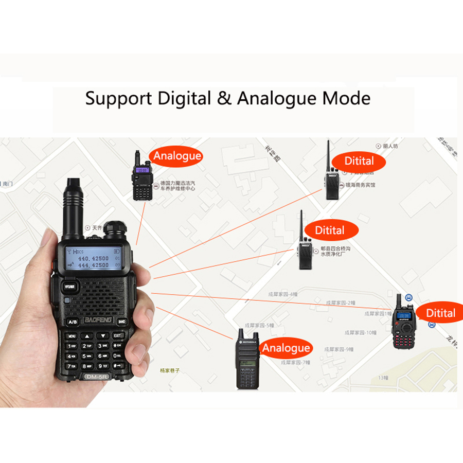 band digital 2 PCS Baofeng DM-5R Digital Walkie Talkie Ham CB VHF UHF DMR Radio Station Double Dual Band Transceiver Boafeng Scanner Amador (5)