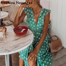 Chu Ni Sexy V neck polka dot green summer dress women 2019 Casual ruffle midi dress Elegant holiday beach female vestidos ZX47(China)