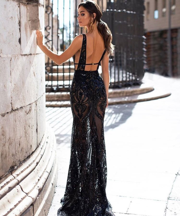 Deep V-neck Backless Spaghetti Strap Sequind See-Through Evening Party Dress Sexy Women Celebrity Body Con Dresses Wholesale