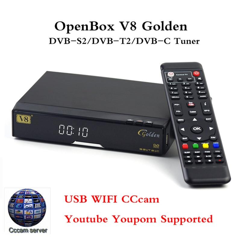 Satellite tv box V8 Golden Combo DVB-S2 DVB-T2 DVB-C Cable Box TV Decoder CCcam 3G USB WIFI Web TV Supported Digital set top box [genuine] freesat v8 golden 1080p hd dvb s2 satellite receiver dvb t2 dvb c cable tv tuner support iptv youtube cccam iks cs