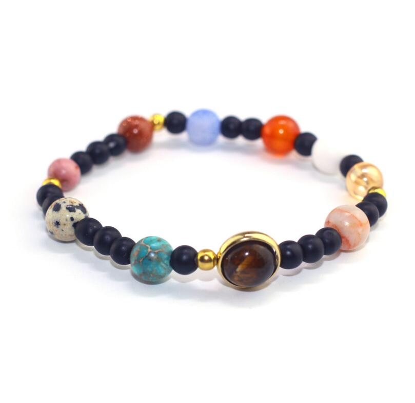 Drop Shipping Universe Galaxy the Eight Planets Solar System Guardian Star Natural Stone Beads Bracelet Bangle for Women Men