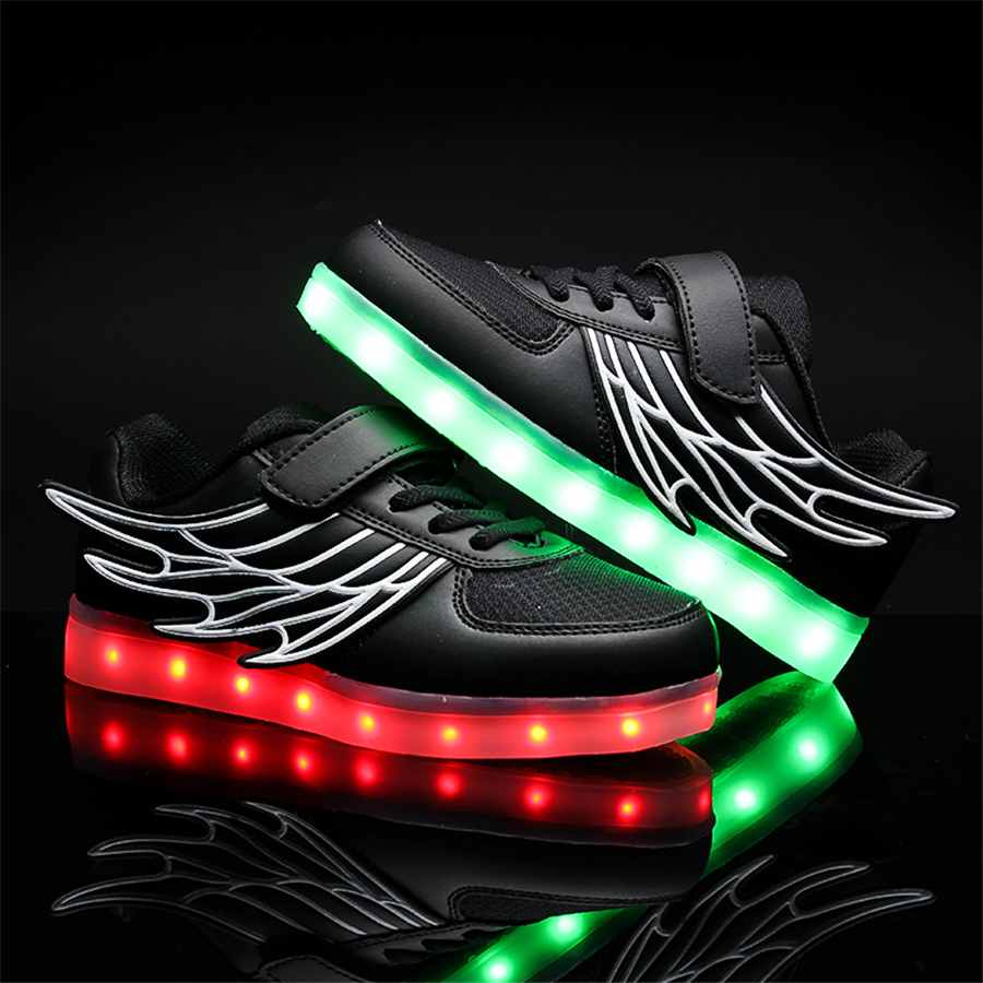 2017 Kids Casual Shoes Light Leather Shoes Girl Glowing Sneakers Usb Wings Spring Children Sneakers White Lights 50Z0017 glowing sneakers usb charging shoes lights up colorful led kids luminous sneakers glowing sneakers black led shoes for boys