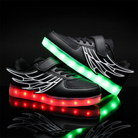 2017 Kids Casual Shoes Light Leather Shoes Girl Glowing Sneakers Usb Wings Spring Children Sneakers White