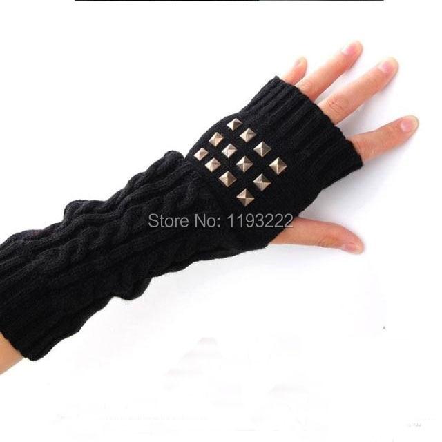 Unisexe hommes femmes Long gants Elbow chaud tricoté Punk Rock Rivet mitaines