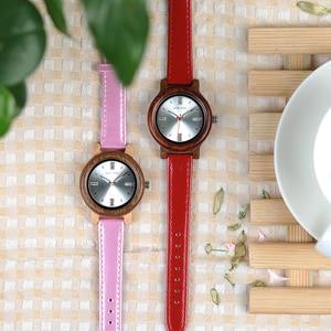 Image 5 - בובו ציפור מותג נשים עץ שעון 37mm עץ PU רצועת שעוני יד נקבה שעונים ליידי קוורץ שעון relogio feminino C P29