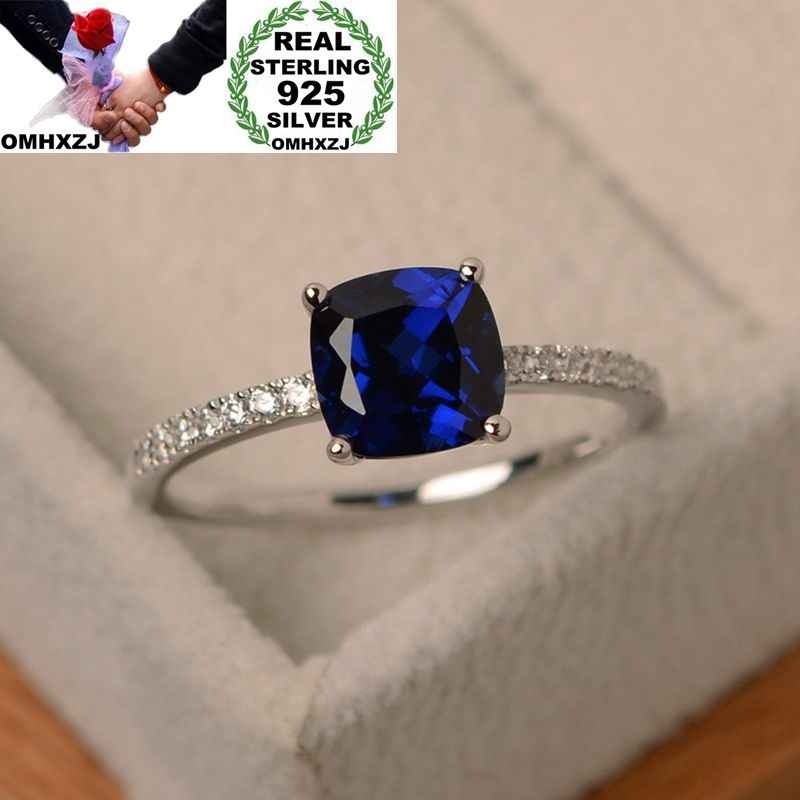 OMHXZJ Wholesale European Fashion Woman Man Party Wedding Gift Various Colors Square AAA Zircon 925 Sterling Silver Ring RR37