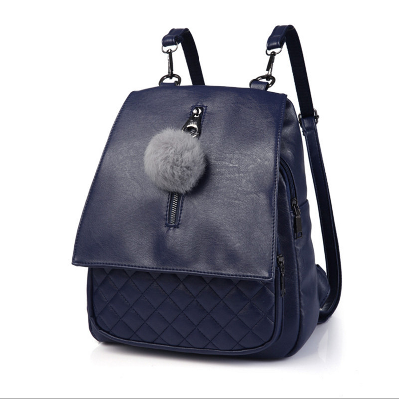 2017 Women Backpack PU leather New Summer Female Lattice Backpack European and American style Backpacks Fur
