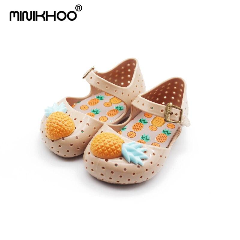 Mini Melissa Brand Childrens Shoes Cute Pineapple Girl Jelly Sandals FURADINHA VII Children Jelly Sandals Baby Melissa Sandals