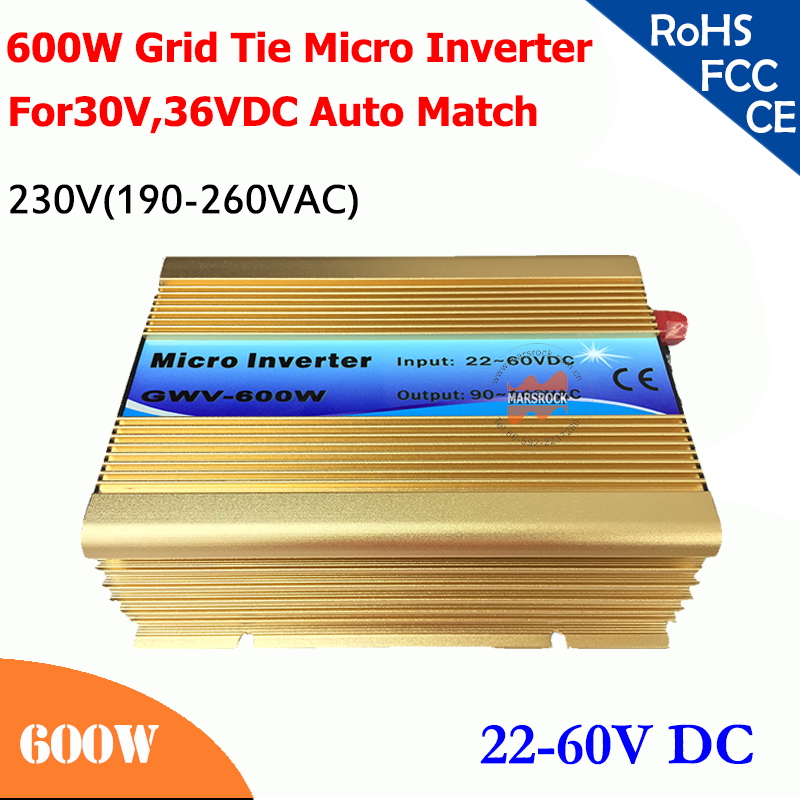 600W grid tie micro inverter,22V-60V DC, 230VAC(190-260VAC), workable for 30V, 36V solar panel system, 50/60Hz auto control solar power on grid tie mini 300w inverter with mppt funciton dc 10 8 30v input to ac output no extra shipping fee