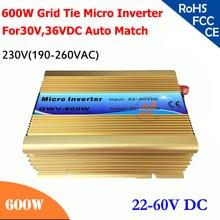 600 Вт сетки галстук микро инвертор, 22 В-60 В DC, 230VAC (190-260VAC), выполнимое для 30 В, 36 В системы солнечных батарей, 50/60 Гц автоматического управления