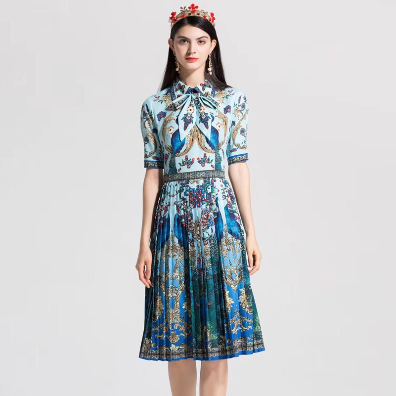 High Quality Vintage Designer summer dress Women's short sleeve Bow Collar Blouse Beading Peacock Pattern Print Pleated dress