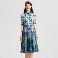 High Quality Vintage Designer summer dress Women's short sleeve Bow Collar Blouse Beading Peacock Pattern Print Pleated dress
