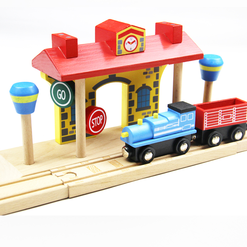 wooden railway station compatible fit Thomas and Brio Wooden Train Educational Boy Kids Toy Christmas Gift