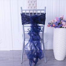 SH105C популярный цвет вечерние красивые темно-синие блестки с органзы курчавая ива frilly стул створки