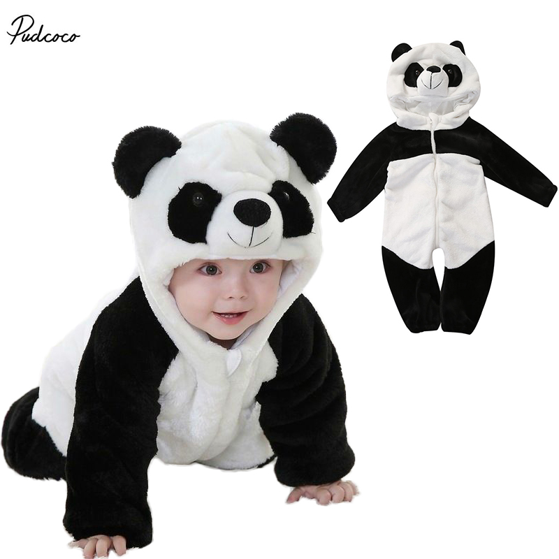 2017 Hot Winter Kids cotton Clothes Newborn Baby Boys Girls Panda One Piece Long Sleeve   Rompers