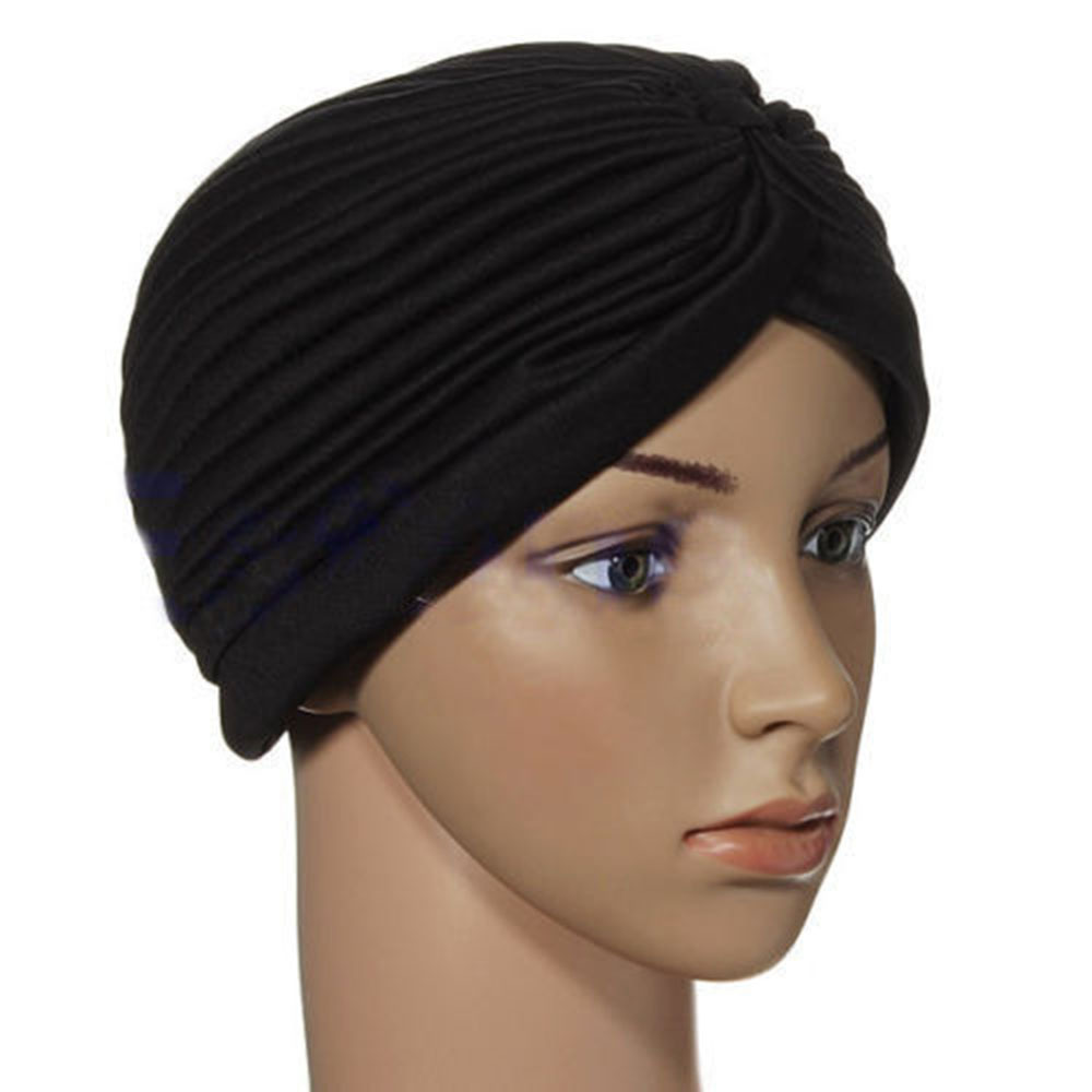 2017 New Indian Cap Pleated Head Wrap Turban Stretchy Band Hat Cloche Chemo Hijab skullies 2017 fashion new arrival indian yoga turban hat ear cap sleeve head cap hat men and women multicolor fold 1866688