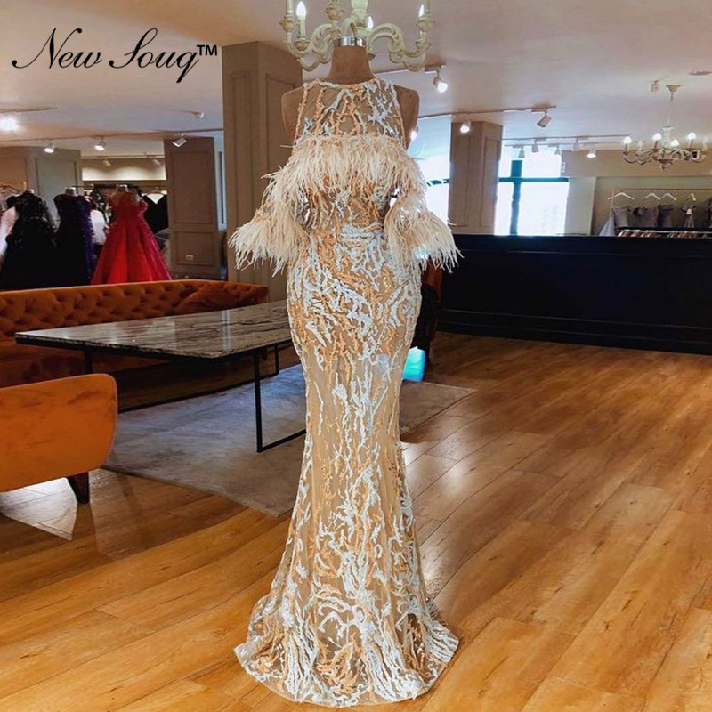 Elegant Arabic Feather Evening Dress 2019 Robe Formal Lace Dresses Prom Party Gowns Robe De Soiree Islamic Dubai Women Gowns