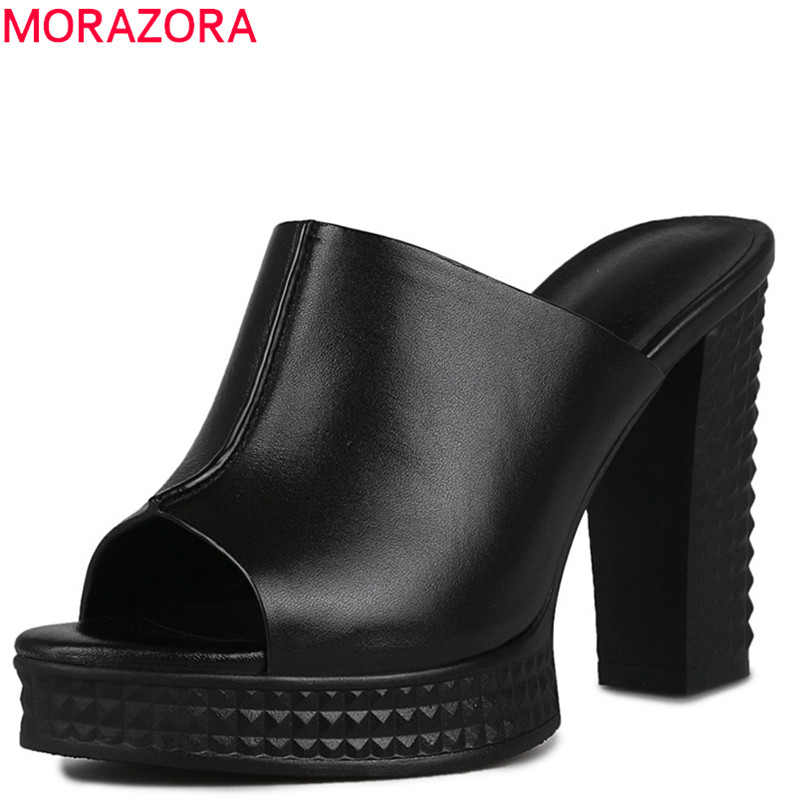 MORAZORA 2020 genuine leather shoes peep toe elegant solid color women sandals fashion platform shoes sexy