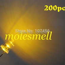 200 шт. 5 мм плоский верхний светодиодный 5 мм водный яркий светодиодный 5 мм Большой/широкоугольный желтый светодиодный 5 мм плоская головка желтые светодиоды