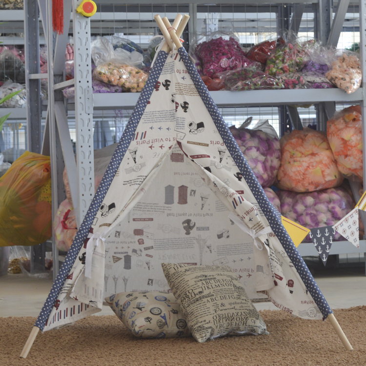 Lovely cartoon teepee kid play tent cotton canvas kids teepee printed playhouse fabric children bed tent foldable kid indoor tent kids outdoor playhouse children kids tent toys play tent game house indian teepee