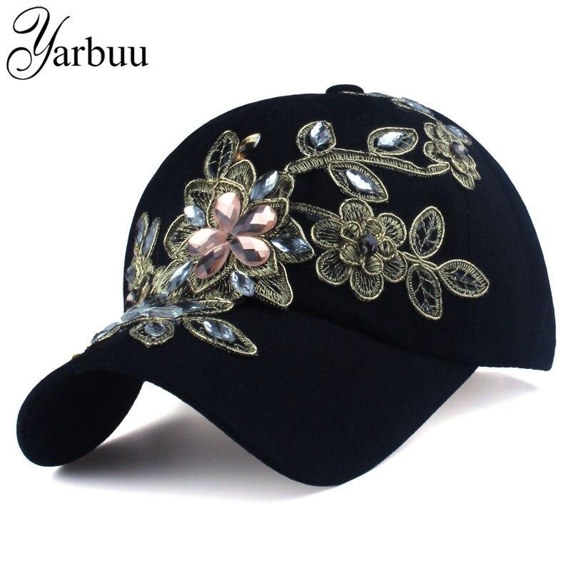 [Yarbuu] marca gorra de béisbol con flor SnapBack gorras para las mujeres sombrero del casquillo hembra alta calidad rhinestone denim cap