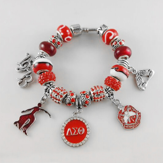 NEW Red Bead Delta Sigma Theta Sorority Founder Lady 1913 Charm Bracelet