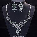 Diamante Branco E Verde Cubic Zircon Criado Diamante Lajeado Grande Declaração Conjuntos de Jóias Do Casamento da Noite Para As Mulheres T224