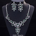 Diamante White And Green Cubic Zircon Created Diamond Paved Big Statement Wedding Evening Jewelry Sets For Women T224
