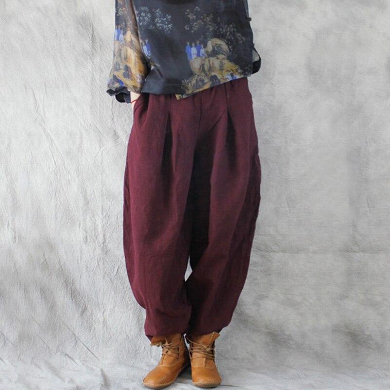SCUWLINEN 2019 Női Harem Pant Vintage Plusz méretű rugalmas - Női ruházat