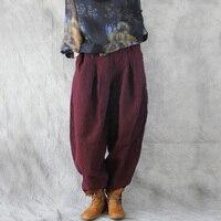 SCUWLINEN 2019 Women Harem Pant Vintage Plus Size Elastic Waist Solid Linen Cotton Pants for Women Loose Casual Bloomers W2610