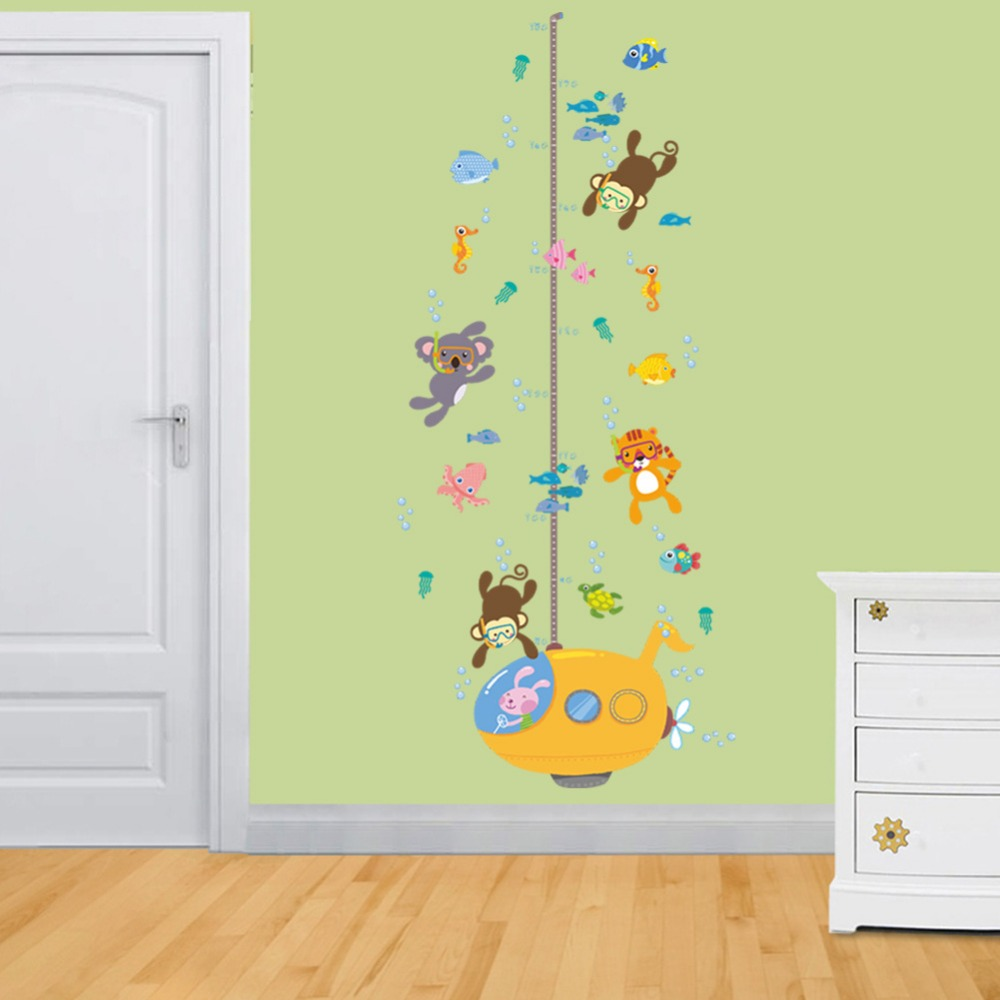 Monkey Submarine Height Measure Decal For Kids Room Home Decor ...