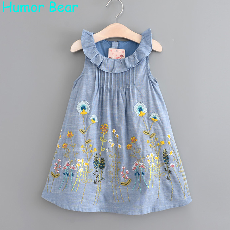 Humor Bear 2017 Girls Denim Dress Summer Casual Style Girls Clothes Flowers Embroidery Dress Kids Clothes